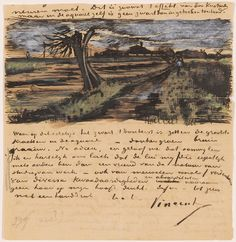 Vincent Van Gogh, letter sketches.