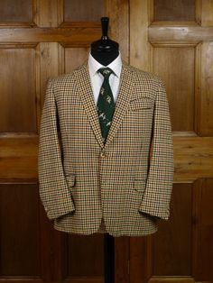1966 Lewis Ferszt Savile Row Bespoke Houndstooth Check Tweed Jacket