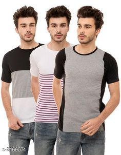 Tshirts Men's Cotton Blend T-shirts  ( Pack Of 3 ) Fabric: Cotton Blend Sleeves: Half Sleeves Are Included Size: S M L XL (Refer Size Chart)  Length: Refer Size Chart Fit: Regular Fit Type: Stitched Description: It Has 3 Pieces of Men's T-Shirts Pattern: Solid Country of Origin: India Sizes Available: S, M, L, XL   Catalog Rating: ★4.1 (473)  Catalog Name: Trendy Men's Cotton Blend T-shirts Combo Vol 3 CatalogID_288025 C70-SC1205 Code: 794-2169574-