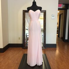 Unique And Affordable Blush Bridesmaids Dress With Sweetheart Neckline   Available now at our Farmington, Missouri boutique. Size 14 (Runs Small) Blush Bridesmaid Dresses, Bridesmaids, Farmington Missouri, Strapless Dress Formal, Formal Dresses, Color Trends, Wedding Colors, Size 14, Neckline