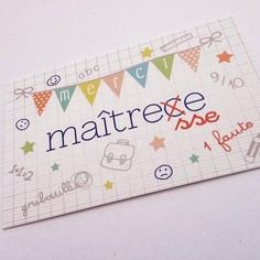 "Mini carte   ""merci maîtresse"""