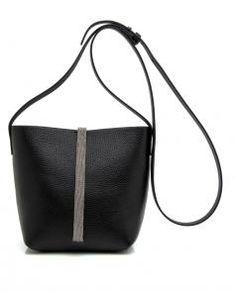 Image of Brunello Cucinelli Black Leather Bucket Bag