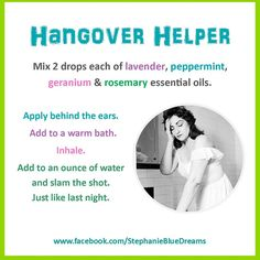 Hungover?  Try this little remedy with your essential oils. Hangover Helper Www.mydoterra.com/lovingessence