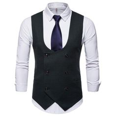 Riinr 2019 Spring Autumn Man's Vest Vintage Waistcoat Men Suit Vest U-shaped Collar Houndstooth Men's Casual Vest Male Clothing Waistcoat Men, Mens Suit Vest, Mens Suits, Red Grey Wedding, Smart Casual Brands, Blue Tuxedo Jacket, Navy Blue Tuxedos, Gilet Costume, Double Breasted Vest