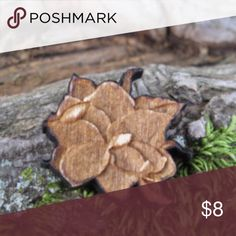 """Wooden Lapel-Flower-Men-Boy-Wedding-Women Measures 1"""" length/width Has a silver toned tie tack adhered to the back so you can wear it on your lapel, sweater, attach it to a bag, hat, suspenders or whatever you wish. Color varies with wood grain. *I personally make these.  Perfect for a wedding, to wear on a suit lapel, hat, etc. MDICollection Accessories Jewelry"""