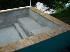 How to Build a Concrete Block Swimming Pool. are several methods for using concrete block in the construction of a swimming pool. The method described in this section will be for building a concrete block pool that can be plastered or us (spa water decor) Hot Tub Backyard, Small Backyard Pools, Diy Pool, Small Pools, Ponds Backyard, Backyard Ideas, Building A Swimming Pool, Natural Swimming Pools, Swimming Pool Construction