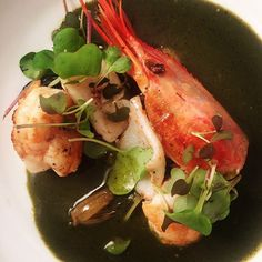 New in Topolo: shrimp huatape: plancha-seared spot prawn/squid, huatape (gr chile, nettles, masa), fermented pak choy