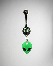 Glow in the Dark Alien Dangle Belly Ring - 14 Gauge