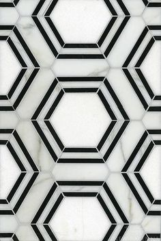 geometric tiles Pembroke, a natural stone waterjet mosaic shown in Calacatta Tia, Thassos and Nero Marquina honed, is part of the Silk Road Collection by Sara Baldwin for New Ravenna Mosaics. Copyright New Ravenna ® Geometric Tiles, Hexagon Tiles, Marble Tiles, Tiling, Mosaic Tiles, Marble Floor, Tile Floor, Marble Art, Hexagon Tile Bathroom Floor
