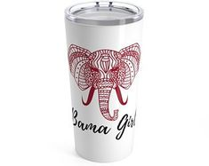 This stainless travel-size tumbler is vacuum-insulated and built to last. It's perfect for showing off your style on the road, at the office, or in the country-side.: 20 oz l).: See-thru plastic lid Vinyl Lettering, Lettering Ideas, Alabama Football, Football Team, Girls Tumbler, Sharpie Crafts, Pebble Mosaic, Glitter Cups, Stone Crafts
