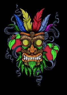 A Fan-Art designed by JailbreakArts where we can see AkuAku, the Mask used by the more famous Crash Bandicoot in his videogame series. Design Tattoo, Tattoo Designs, Arte Bob Marley, Art Tumblr, 4 Tattoo, Yakuza Tattoo, Poster S, Video Game Art, Grafik Design