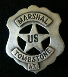 Replica US Marshal Tombstone Old West Badge at Circle KB All Western Cowboy