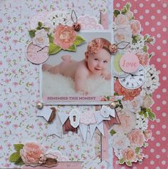 """""""Remember this Moment"""" Layout A close up… Kaisercraft Products : Wallpaper Scrapbook Journal, Scrapbook Page Layouts, Scrapbook Supplies, Scrapbook Cards, Scrapbooking Ideas, Photo Layouts, Smash Book Pages, Baby Girl Scrapbook, Kids Pages"""