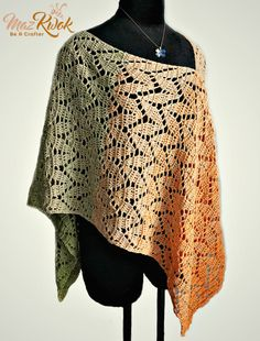 Learn how to crochet a lacy poncho with leaf texture and fine cake cotton yarn in this post. Free written crochet pattern in US crochet terms.