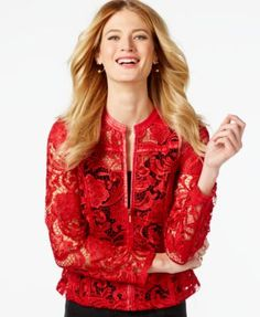 INC International Concepts Faux-Leather Lace Jacket, Only at Macy's poly glamorous red szS 22L 169.50
