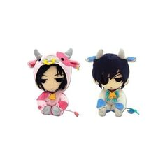 Set of 2 Great Eastern Black Butler Plush Dolls Sebastian Cow Ciel Cow ($23) ❤ liked on Polyvore featuring plushies, black butler and merch