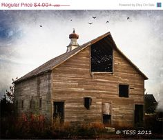 OnSale Old Barn Photo  -  Old Barn Photography - Landscape - Weathered Barn - Iowa Barns by PhotographybyTess on Etsy https://www.etsy.com/listing/85471246/onsale-old-barn-photo-old-barn