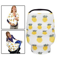 Premium 5 in 1 Multi-use: Baby Car Seat Cover Nursing Breastfeeding Cover Canopy Shopping Cart High Chair Stroller Infinity Scarf  Soft Stretchy Pineapple Breathable Baby by Zilla Exchange