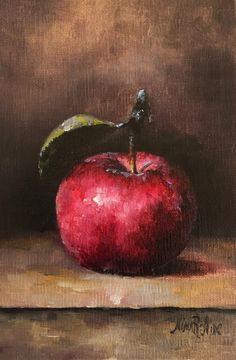 Original Oil Painting of Red Apple by Nina R.Aide Fine Art Studio Gallery Fruit Small Painting Canvas 6x4 by NinaRAideStudio on Etsy