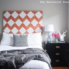 Make your own headboard from.... literal boards.