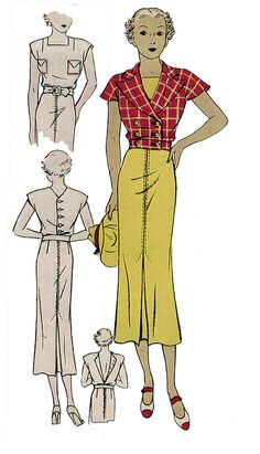 #T1390 - 1930s Ladies Sports Dress With Jacket Sewing Pattern - Retro - Theater