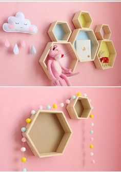 Nordic Style Nursery Kids Room Decoration Shelf Wooden Yellow White Honeycomb Hexagon Shelves for Baby Child Bedroom Decoration - AliExpress Lego Bedroom, Wooden Bedroom, Kids Bedroom, Kids Rooms, Minecraft Bedroom, Boy Rooms, Boy Decor, Baby Room Decor, Homemade Home Decor
