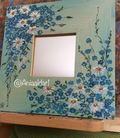Excited to share the latest addition to my shop: Mirror wooden frame. Mirror Painting, Mirror Art, Painting Frames, Diy Painting, Flower Mirror, Flower Frame, Painted Picture Frames, Diy Frame, Wooden Frames