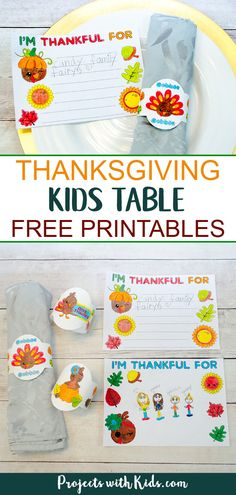 Thanksgiving kids table free printables, an easy no prep acitivty for kids to help decorate for Thanksgiving. Adorable printable napkin rings for kids to color, cards for kids to color and write or draw what they are thankful for this year. #projectswithkids #thanksgivingcrafts #thanksgivingtable #napkinrings