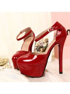 Patent Leather Ankle Strap Platform Red High Heels