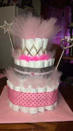 Baby girl diaper cake. Princess diaper cake