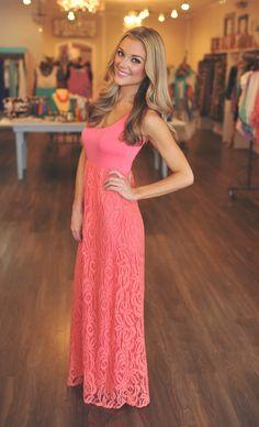 Dottie Couture Boutique - Lace Bottom Maxi- Coral, $52.00 (http://www.dottiecouture.com/lace-bottom-maxi-coral/)
