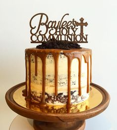 Semi naked Chocolate cake with Toblerone cream cheese filling and salted caramel buttercream and caramel drip