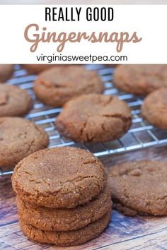 Looking for a really good Gingersnap cookie recipe? This Gingersnap recipe makes a cookie that is crisp on the outside and soft and chewy on the inside. Delicious Cookie Recipes, Easy Cookie Recipes, Yummy Treats, Sweet Treats, Dessert Recipes, Xmas Recipes, Ginger Snaps Recipe, Ginger Snap Cookies, Christmas Desserts