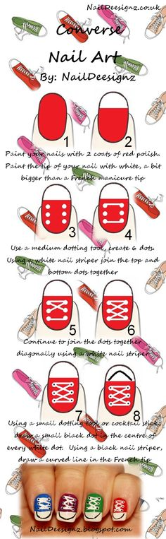 Converse Nail Tutorial .x.  http://naildeesignz.blogspot.co.uk/2013/11/converse-nail-art.html