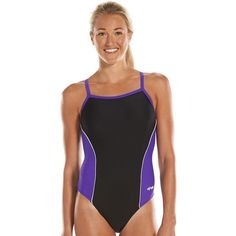 Women's Dolfin Team Colorblock V-2 Back Competitive One-Piece Swimsuit (60  AUD