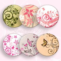 Floral Swirls 1 inch round Digital Collage Sheet 1 by images4you