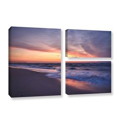 Outer Banks Sunset I by Dan Wilson 3 Piece Photographic Print on Gallery-Wrapped Canvas Set