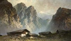 Am Hochjoch by Oskar Mulley Great Paintings, Landscape Paintings, Landscapes, Romanticism Paintings, Mountain Pictures, Ski Posters, Building Art, Art Graphique, Painting Patterns