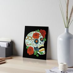 Promote | Redbubble Sugar Skull Design, Vase, Home Decor, Decoration Home, Room Decor, Jars, Vases, Interior Decorating, Jar