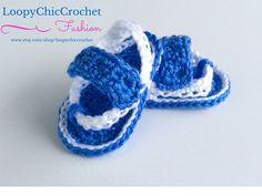 Boys Crochet Flip Flops in Blue Blue Crochet by LoopyChicCrochet