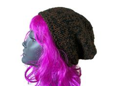 Brown/Black Beanie Hat, Chunky - Hand Knitted, £17.99