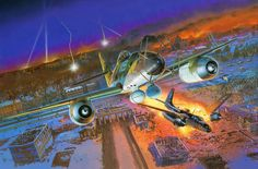 Me 262A-1a Nachtjäger shooting down a Douglas A-26C Invader over Berlin, by Masao Satake