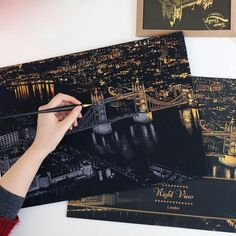 Buy Famous Cities Scratch Postcard Gold Color Magic Night View Scratch Art Paper Scraping Drawing Pictures at Wish - Shopping Made Fun Scrape Painting, Diy Painting, Painting & Drawing, Drawing Drawing, Valentines Day Birthday, Birthday Gifts For Kids, Scratch Art, Color Magic, Magic City