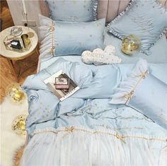 Starry Ruffle Edge Duvet Set Egyptian Cotton Queen King Pillowcase, Du – PeachyBaby Baby Girl Bedding Sets, Cute Bedding, Duvet Bedding Sets, Flat Sheets, Bed Sheets, Teen Vogue Bedding, Frozen Bedding, Hello Kitty Bed, Cute Duvet Covers