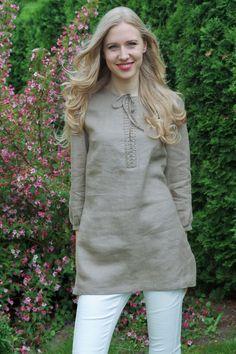Natural Linen Tunic / Longsleeved Tunic / Linen Top / Linen Women's Shirt / Simple Tunic / Loose Fit Kurti Sleeves Design, Kurta Neck Design, Simple Tunic, Simple Shirts, Neck Designs For Suits, Dress Neck Designs, Pakistani Formal Dresses, Kurta Designs Women, Linen Tunic