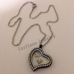 Checkered Flag Floating Charm Heart Shaped Locket Necklace