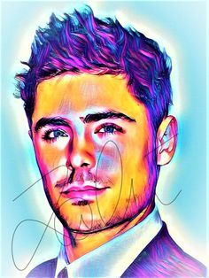 zac efron drawing drawings pop abstract painting poster bts vibrant drawn abstract1 celebrities celebrity myshopify signature