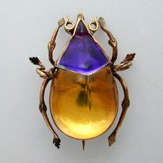 Victorian rock crystal beetle brooch