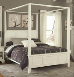 Four Poster White Canopy Bed, Hardwood, 4 Post Wood Canopy, Queen Frame #HomeStyle #Contemporary