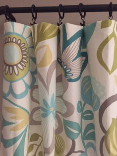 Pair Of Teal Green Yellow And Gray Drapery Curtain Panels Living Room Curtains